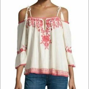 Love Sam Ivory Red Embroidered Top